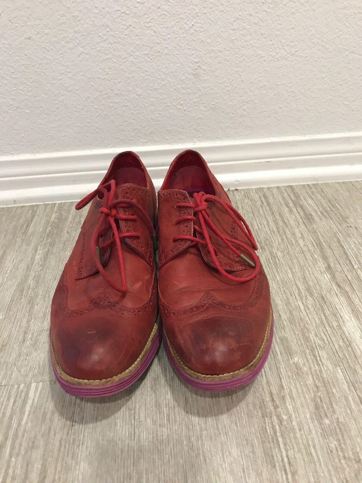 Cole haan lunargrand para para para mujer Talla 10.5 Cuero Rojo rosado punta del ala Oxford Derby  Nuevos productos de artículos novedosos.