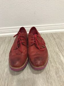 Cole-Haan-Lunargrand-Women-039-s-Size-10-5-Red-Leather-Pink-Wingtip-Oxfords-Derby