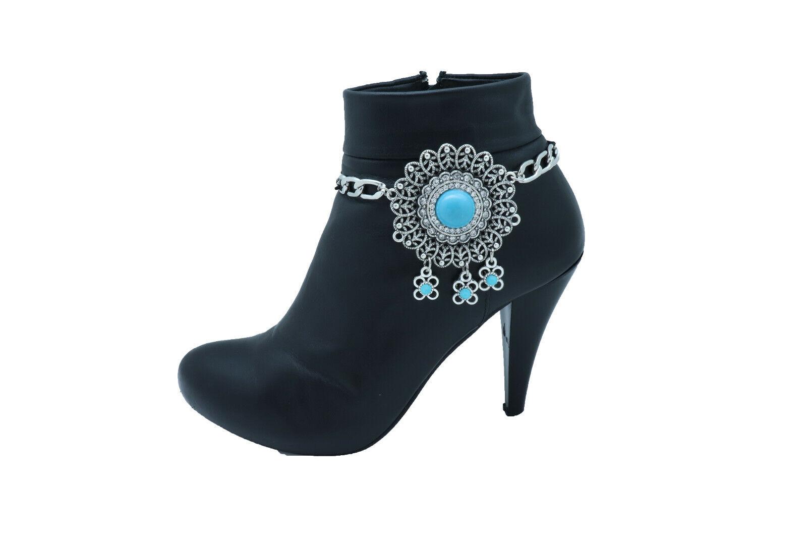 Women Silver Western Boot Chain Bracelet Shoe Turquoise Flower Ethnic Big Charm