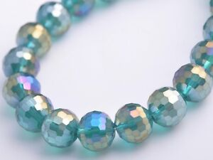 20pcs-10mm-96Facet-Round-Faceted-Crystal-Glass-Loose-Beads-Peacock-Green-AB