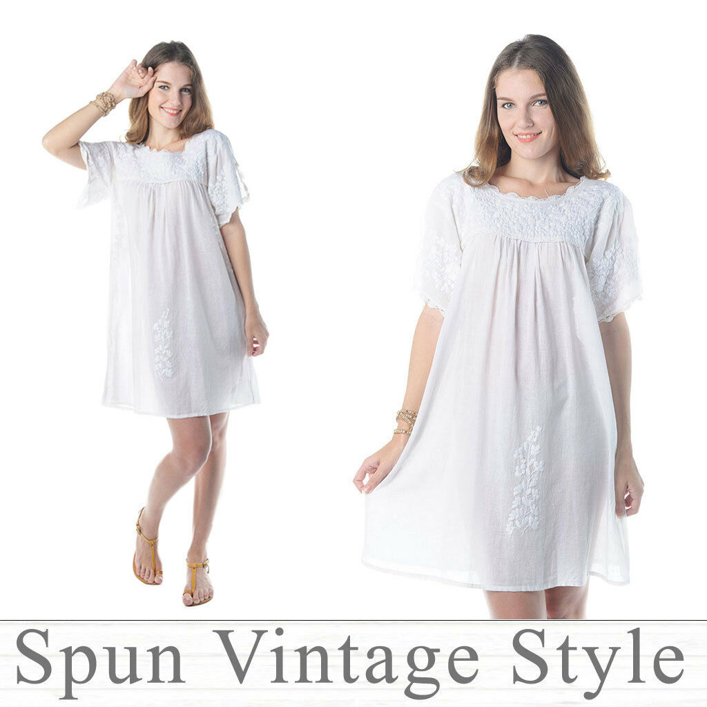 Mexican Oaxacan style Hand-Embroidered Baby doll Dress Tunic Boho Hippie White