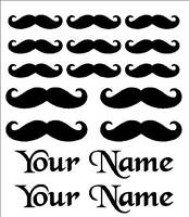 Mustache Vinyl Decal Sticker Set Custom Made Personalized