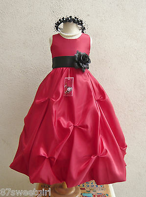 RED BLACK FORMAL GOWN BRIDAL FLOWER GIRL DRESS SIZE 2T/2 3 4 5 6X 6 7 8 10 12 14