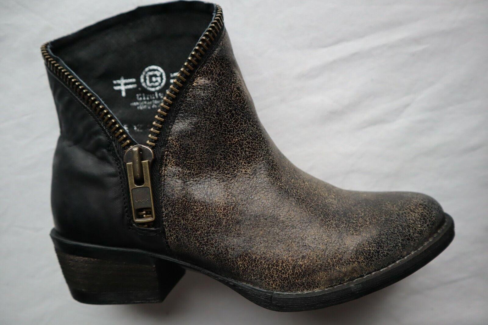 marca New Dark Marrone Regular & Distressed Leather Circle G G G Ankle stivali Dip Zipper 7  garanzia di qualità