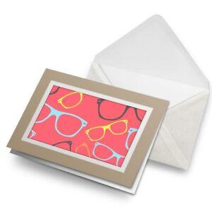 Greetings-Card-Biege-Cute-Pink-Glasses-Opticians-Cool-Glass-8768