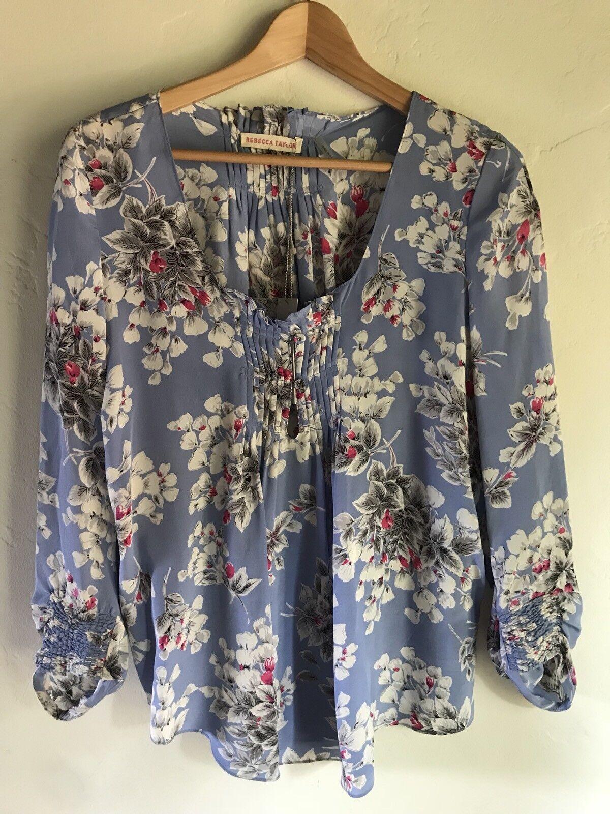 NEW 315 Rebecca Taylor Multi-Farbe Floral Blossom Silk Blouse Größe 10 GORGEOUS