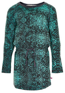 NEUF-manches-longues-robe-en-jersey-pour-ramasser-turquoise-vert-avec-gris-motif