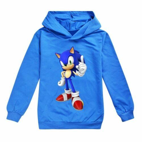 UK Sonic The Hedgehog Kids Boys Cartoon Hoodie Sweatshirt Pullover Jumper Jacket