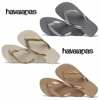 newest 53624 e34cc Havaianas Top Metallic Rose Gold, Beige, Steel Grey Womens New Size | eBay