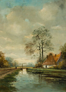 Framed-Early-20th-Century-Oil-River-Scene-with-a-Cottage