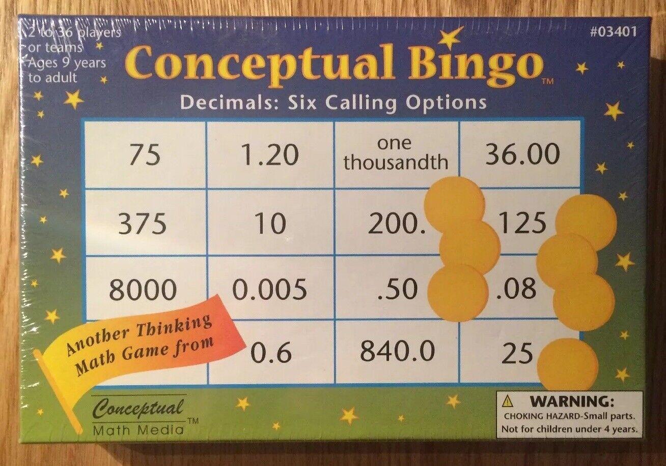 New & Sealed Conceptual Maths Media Bingo Decimals Six Calling Calling Calling Options  03401 16be97
