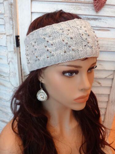 Stirnband Stretch Strick Kopfband Ohrenwärmer Strass Fleece bordeaux grau NEU