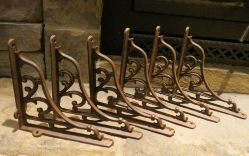 Set of 6 Extra Large Cast Iron Expresso Scroll Shelf Bracket, Brace, 9 x 9
