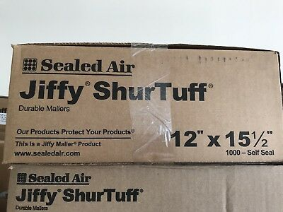 "1000 10/"" x 13/"" Jiffy ShurTuff Durable Self-Sealing White Poly Mailers 2 mil Case"