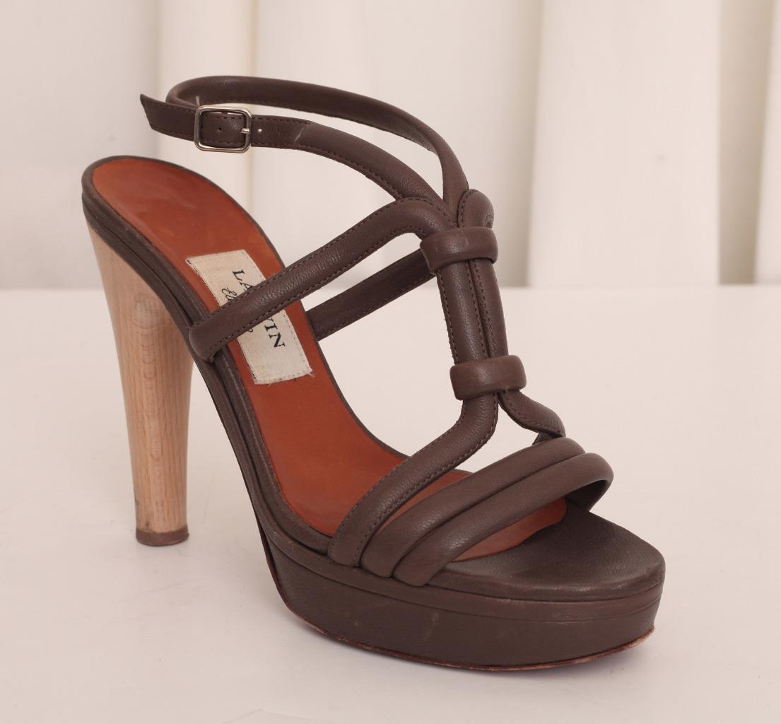 LANVIN Femme en Cuir Marron Lanières Plateforme Haute Talon Chunky Pump chaussures 8-38