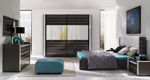 Modernes Designer Schlafzimmer Komplett Linn Hochglanz schwarz mit ...