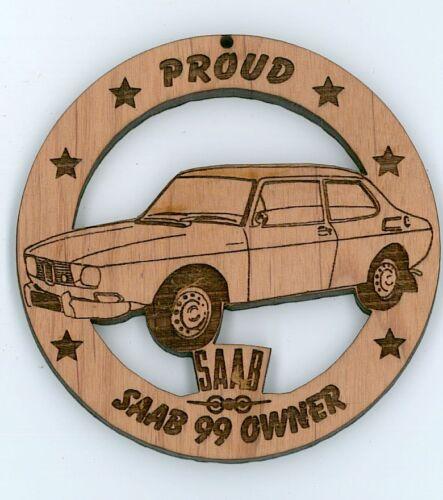 Saab 99 Wood Ornament Engraved