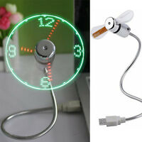 Portable Mini USB LED Clock Fan Cooler with Real Time Display Function Fan 2016