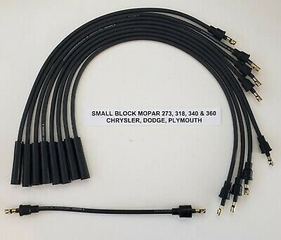 mopar dodge chrysler 318 340 360 8mm black spark plug wires for points cap usa ebay Dodge 318 Engine Diagram