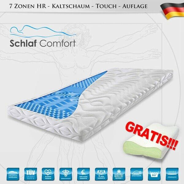 Matratzen Kaltschaum 7 Zonen Touch Topper  90x190x7cm +1 Kissen Gratis