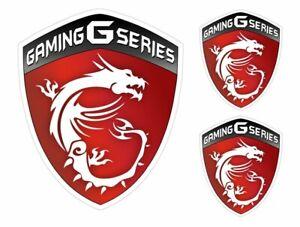 3 Stickers plastifiés MSI Gaming G Series - 1x 10cm x 8cm - 2x 5cm x 4cm