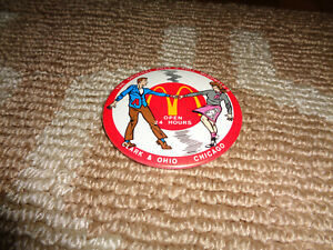 McDonald's Pinback Button Pin Rock N Roll Chicago Clark & Ohio Open 24 Hours Ad