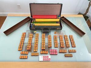 Vintage Rare Art Deco Cherry Bakelite Enrobed Mahjong Mah Jongg Set 169 Tiles
