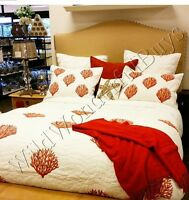 Pottery Barn Coral Quilt Set White Red Queen 2 Standard Shams Embroidered