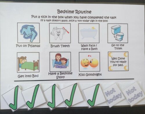 Children/'s bedtime routine chart learning autism reward