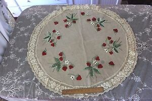 Victorian Old Society Silk Hand Embroidered Roses, Lace Edged Table Cloth c.1890