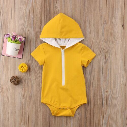 Newborn Infant Baby Boys Hoodie Romper Jumpsuit Bodysuit Clothes Outfit Sunsuit