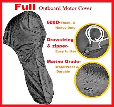 600D Blue Boat Full Outboard Engine Cover Fit Up to 6-225HP Motor Waterproof