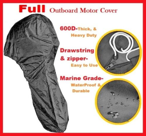 600D Heavy Duty Boat Full Outboard Engine Motor Cover Fit 6-10HP All Weather