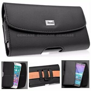 NEW LEATHER BELT CLIP HOLSTER CASE HORIZONTAL POUCH COVER FOR CELL PHONES BLACK