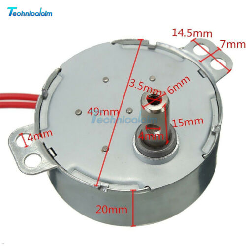 AC 12V TYC-50 50//60Hz Synchronous Motor 5//6RPM CW//CCW 4W For Microwave Turntable