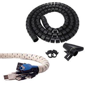 2cm 8in Dia (black) Flexible Cord Cable Wire Organizer Wraps ...