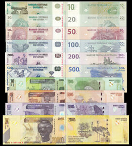 CONGO-set-10-Pcs-10-20-50-100-200-500-1000-5000-10000-20000-Francs-1997-2013-UNC