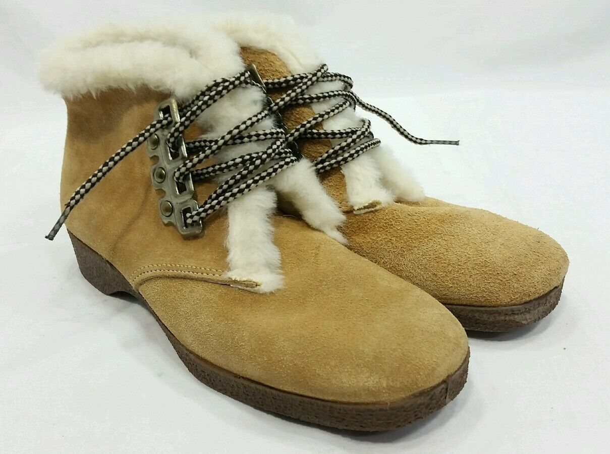 NOS Dunhams ESKIPADES Canadian Suede Winter Lace-up Boots Faux Fur Womens 7