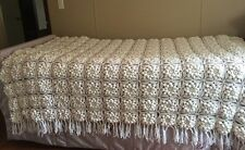 Hand Knit Crochet Knit White POPCORN Snowflake Bed Cover Spread Twin/Full EUC