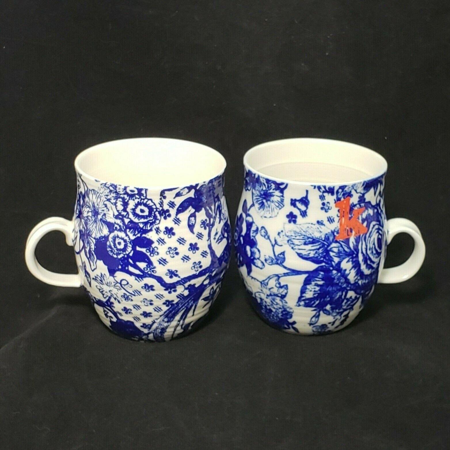 2 Anthropologie Homegrown Monogramme Lettre K Motif Floral Pétale palette Café Tasse
