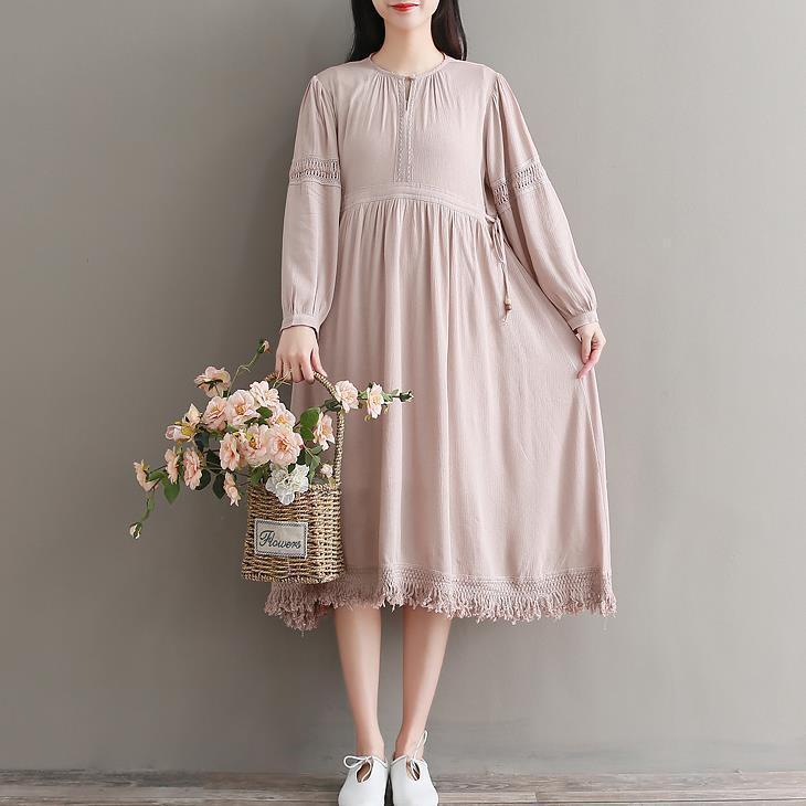 Ladies Cotton Blend Mori Girl Dress Lolita Princess Fairy Long Sleeve Gown Loose