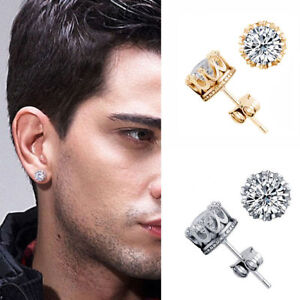8mm/10mm Men Women Sterling Silver Post Stud Crown Cubic ...