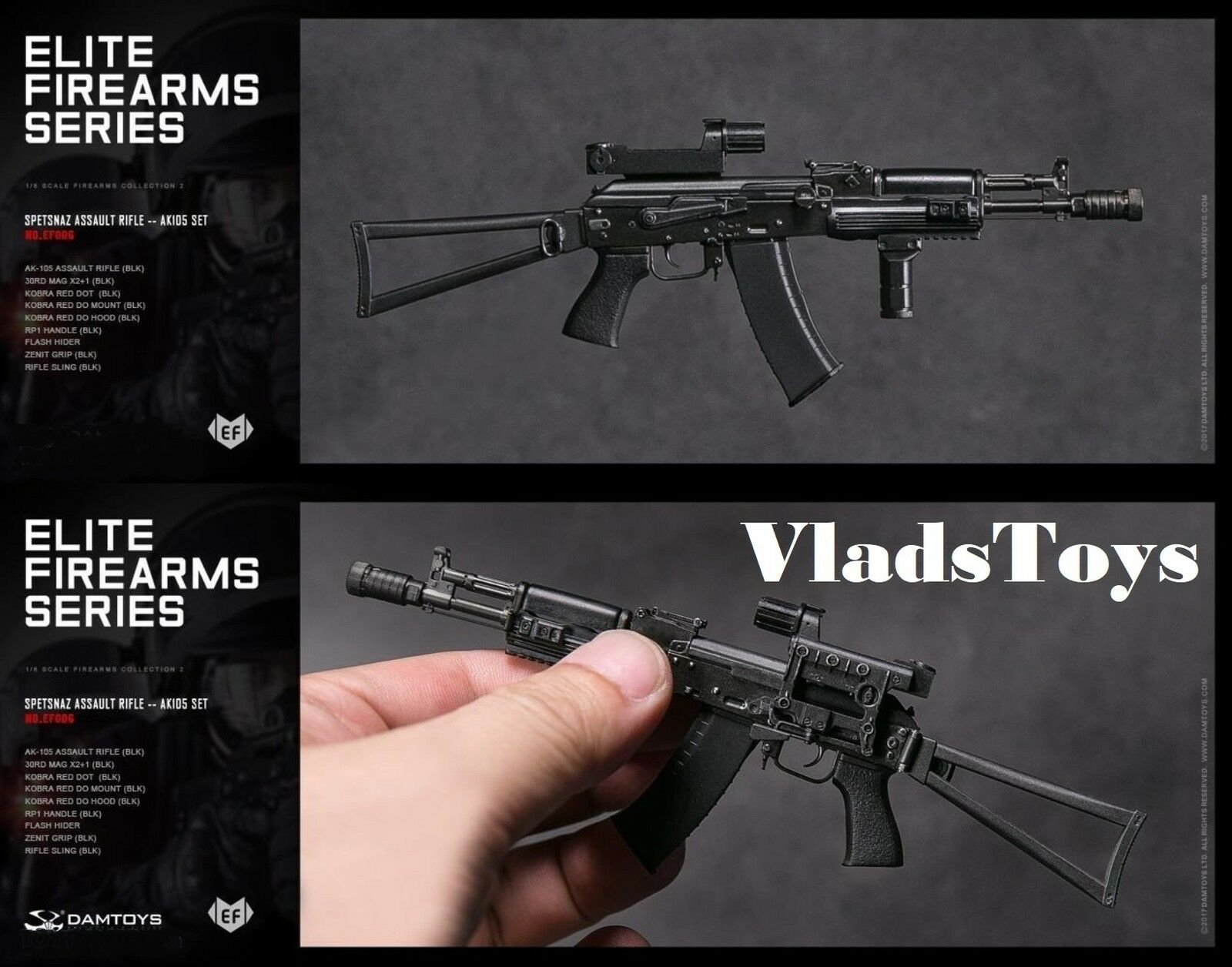 Spetsnaz Assault Rifle AK105 Set 1 6 DamToys Elite Firearms Series 2 EF006 USA