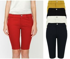 Mujer Denim Elastico Pantalones Cortos Capri 3 4 Rodilla Largo Talla Unica 6 16 Ebay