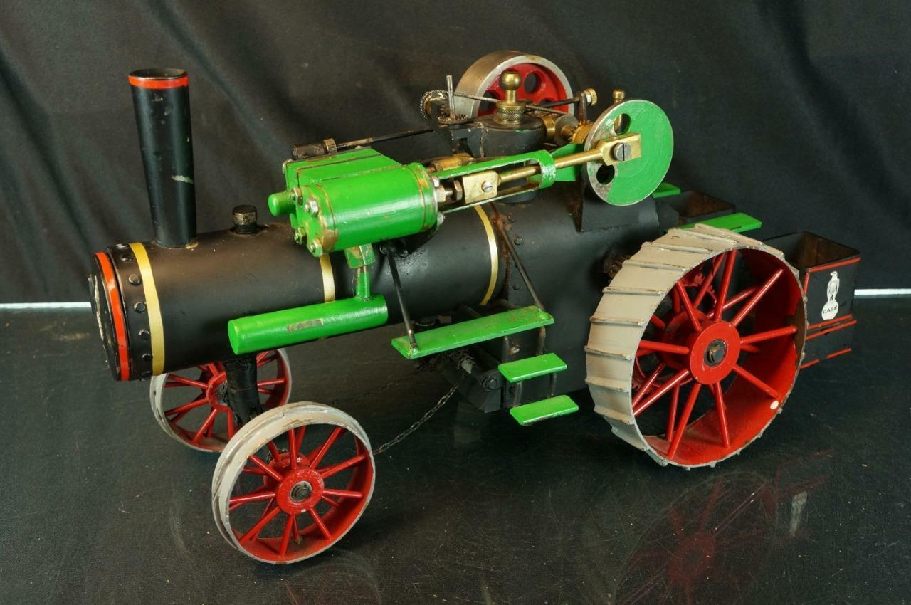 Vintage tal caso De Hierro Fundido  Granja Tractor de motor de vapor H.p. en vivo Juguete Original