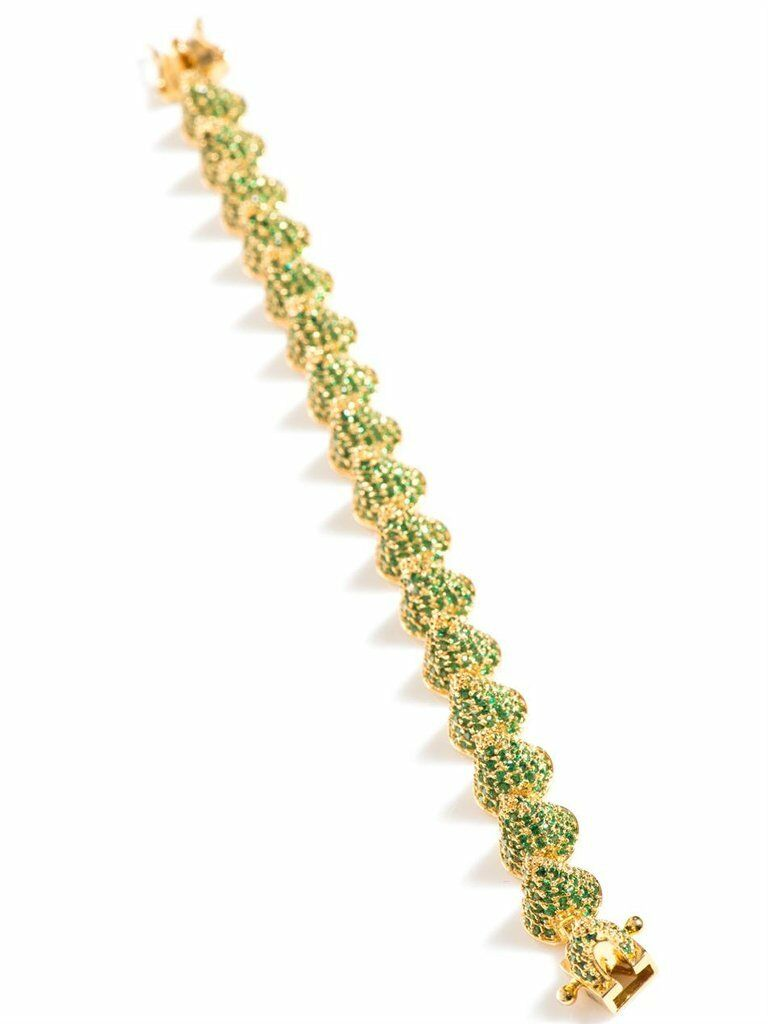 Eddie Borgo Pave Cone Bracelet - Green Crystal and gold Plated Metal - MSRP  500