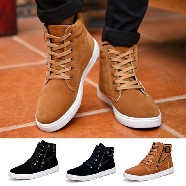 Men Winter Korean Style Fall Shoes High Top Suede Leather ...