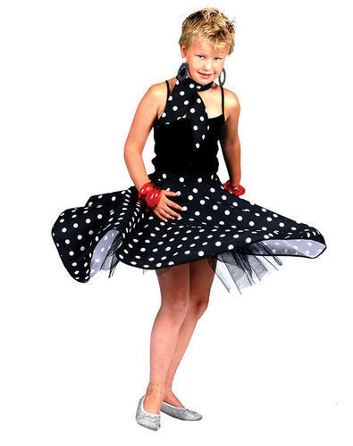 Rock n Roll Skirt Childs Black Fancy Dress 50s Polka Dot Girls Dance Costume New