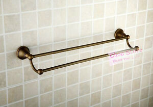 Antique-Brass-Bathroom-Towel-Bar-Towel-Holder-Rack-Double-Rail-Wall-Hange-C15