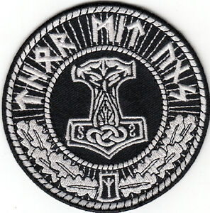thors hammer moljinor thor mit uns patch asatru viking